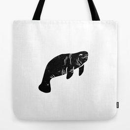 Manatee linocut black and white minimal nature art manatees Tote Bag
