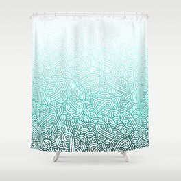 Gradient turquoise blue and white swirls doodles Shower Curtain