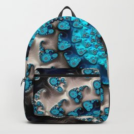 Ivory Blue Maximum Depth Fractal Art Backpack