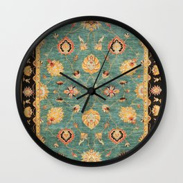 Oushak  Antique Gold Teal Turkish Rug Print Wall Clock