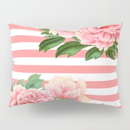 Pink Peonies Salmon Stripes Pillow Sham