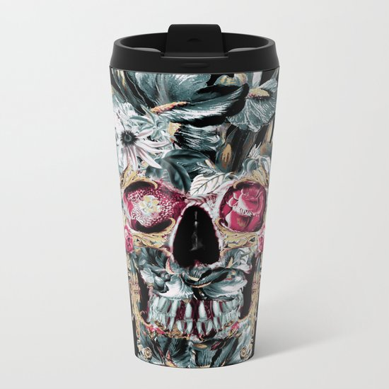 Skull on Black Metal Travel Mug