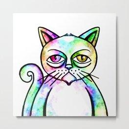 Grunge Watercolor Cat Portrait Metal Print