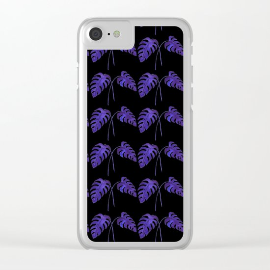 Indigo Monstera Leaf Watercolor on Black Clear iPhone Case