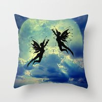 fairies Throw Pillows featuring Moon Fairies by haroulita