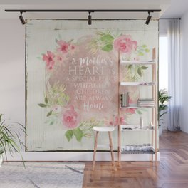 Typography A Mothers Heart Wall Mural