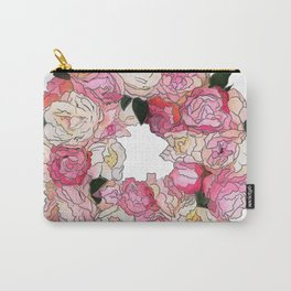 Peony Floral Wreath Painting Carry-All Pouch