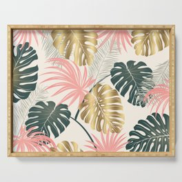 Tropical Print with Gold Serving Tray