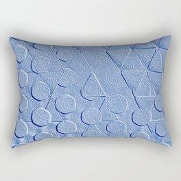 Embossed Geometric Denim Blue Rectangular Pillow