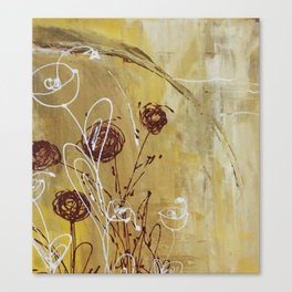 Yellow Tan Spring Abstract Flowers. Jodilynpaintings. Abstract Floral Canvas Print