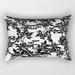 Toile Black and White Tangled Branches and Leaves Rectangular Pillow