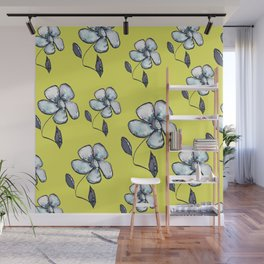 Modern Floral - Yellow Background Wall Mural