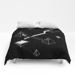 Black Space Pyramids Comforters