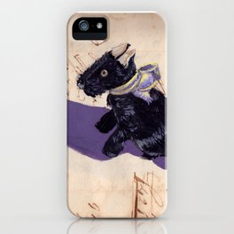Vintage Fabric Stuffed Scottish Terrier in Gouache iPhone Case