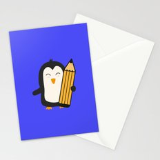 Penguin with pen   Stationery Cards