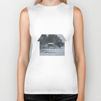 cabin Biker Tanks featuring Red Cabin by Accessorius