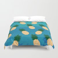 pineapples Duvet Covers featuring Pineapples  by Ashley Hillman