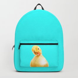 Duckling Portrait Turquoise Background Backpack