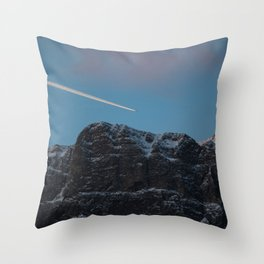 Plane Flying Over Mountains in Sunrise Throw Pillow