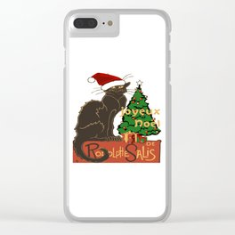 Joyeux Noel Le Chat Noir With Tree And Gifts Clear iPhone Case