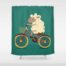 Lamb on the bike Shower Curtain