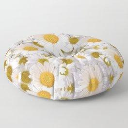 WHITE SHASTA DAISES GARDEN Floor Pillow