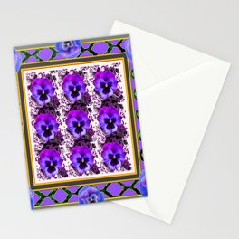 PURPLE & BLUE SPRING PANSIES  GARDEN  PATTERN Stationery Cards