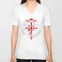 fullmetal alchemist V-neck T-shirts featuring Full of Alchemy - Fullmetal alchemist by R-evolution GFX