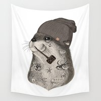 otter Wall Tapestries featuring OTTER by Thiago Bianchini