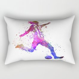 Girl playing soccer football player silhouette Rectangular Pillow