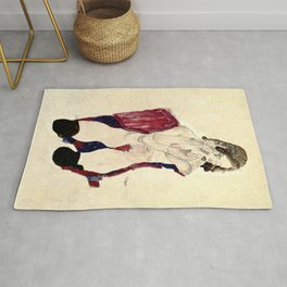 Egon Schiele - Seated Girl with Black Stockings and Folded Hands Rug