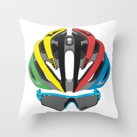 cycling Throw Pillows featuring Cycling Face by Pedlin
