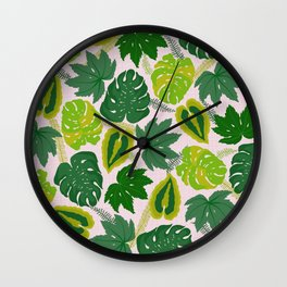 Greens and Leaves Wall Clock