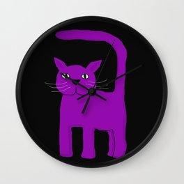 Purple Cat on Black Wall Clock