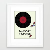 almost famous Framed Art Prints featuring Minimalist Almost Famous by alyssaandress