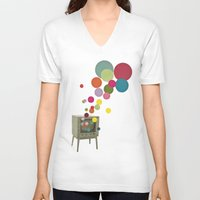 tv V-neck T-shirts featuring Colour Television by Cassia Beck