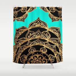 Gold Lace on Turquoise Shower Curtain