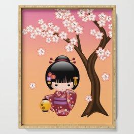 Japanese Sakura Kokeshi Doll Serving Tray