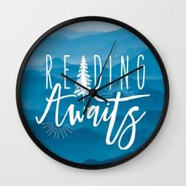 Reading Awaits - Blue Mountains Wall Clock