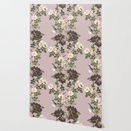 Birds and the Bees Pink Berry Wallpaper