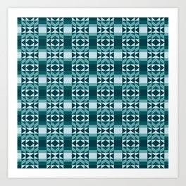 Fresh and Bright Aztec Pattern Deep Ocean Wave Seafoam Aqua Art Print