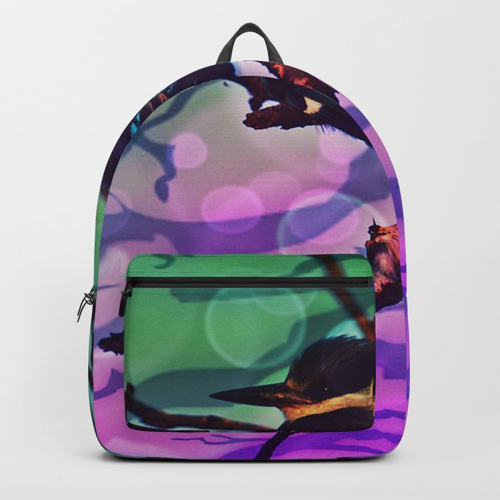 African Bird and Branches Teal And Pink Backpack