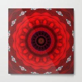 Red Rose Mandala Metal Print