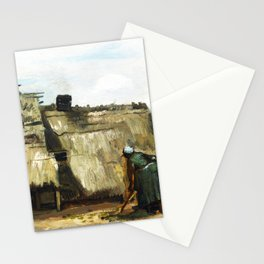 A Peasant Woman Digging in Front of Her Cottage (c.1885) by Vincent Van Gogh Stationery Cards