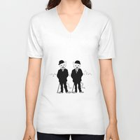 tintin V-neck T-shirts featuring Thomson and Thompson by Hannighan