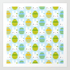 Kawaii Easter Bunny & Eggs Art Print