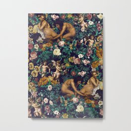 Young Greeks and Floral Pattern Metal Print