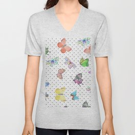 Colorful pink teal watercolor hand painted butterfly polka dots Unisex V-Neck