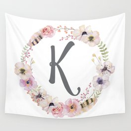 Floral Wreath - K Wall Tapestry