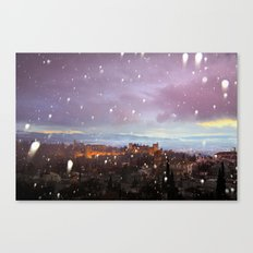 Snowing in the Alhambra, Granada, Spain at sunset Canvas Print